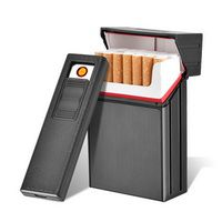 CC035A Brand New Detachable Metal Cigarette Case with USB Rechargable Eletronic Lighter