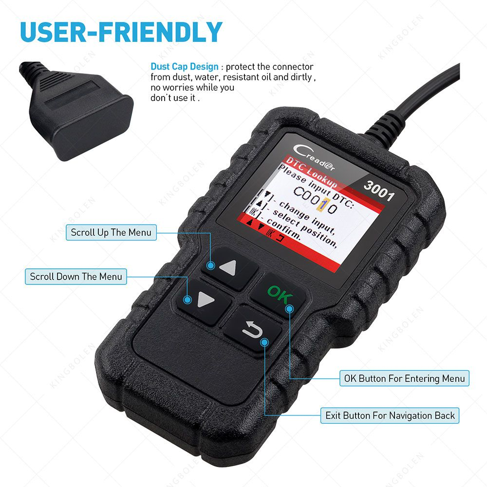 LAUNCH X431 CR3001 OBD 2 CAR Code Reader Support Full OBDII /EOBD Launch Creader 3001 CR3001 Auto Scanner PK AD310 NL100 ELM327